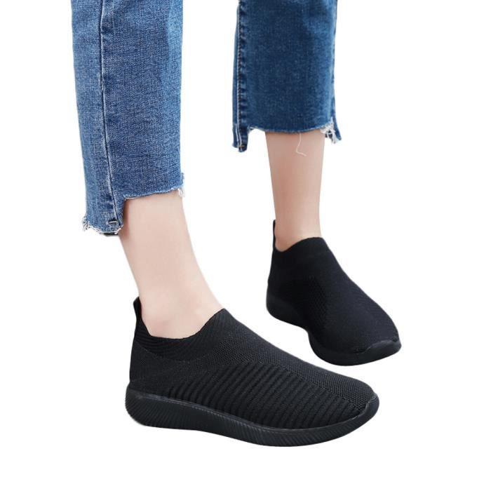 Slip Sport Soles De Outdoor Confortable Mesh On Casual Chaussures Course Femmes Noir qntwBvp040
