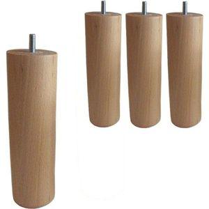 PIED DE LIT SEDAC 4 Pieds Cylindriques Verni naturel H 20cm