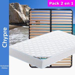 ENSEMBLE LITERIE Chypre - Pack Matelas + Lattes 120x190