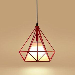 LUSTRE ET SUSPENSION Rouge-Lustre Suspension Cage forme Diamant Moderne