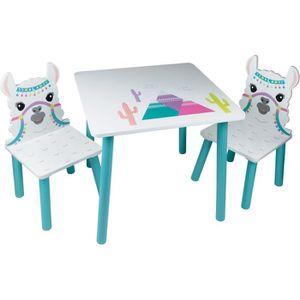 TABLE ET CHAISE LAMA Table et 2 chaises pour enfant - En bois MDF