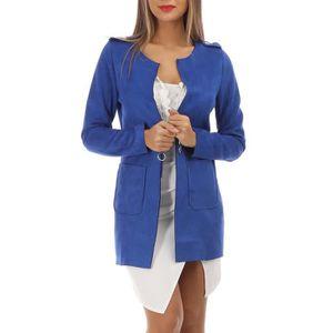 VESTE Veste en suédine bleue à longueur ajustable