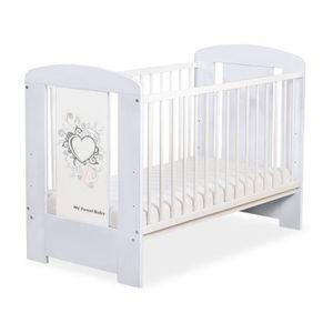 LIT BÉBÉ Lit bébé à barreaux 120 x 60 cm gris coeur gris