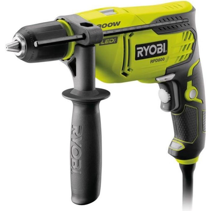 RYOBI Perceuse à percussion 800 Watts - coffret