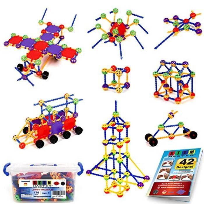 Jeu D'Assemblage IESI2 176 pièces tige d'apprentissage construction éducative construction jouet ensemble cadeau pour et âges 3 4 5