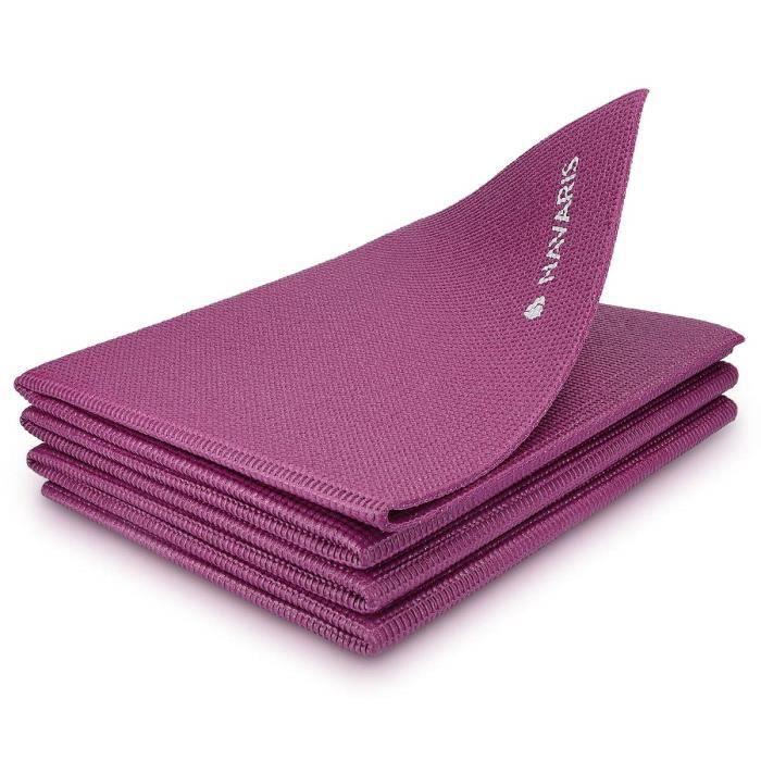 Navaris Tapis de Yoga Pliable antidérapant - Tapis Yoga de Voyage 173 x 61 x 0,4 cm - Tapis de Sol à mémoire de Forme - Fitness G