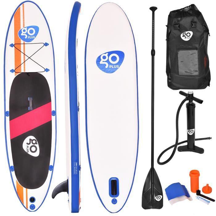 Stand Up Paddle Gonflable 300x76x15CM avec Accessoires Pagaie,Pompe Haute Pression Kit de Réparation,Leash, Aileron Amovible et Sac