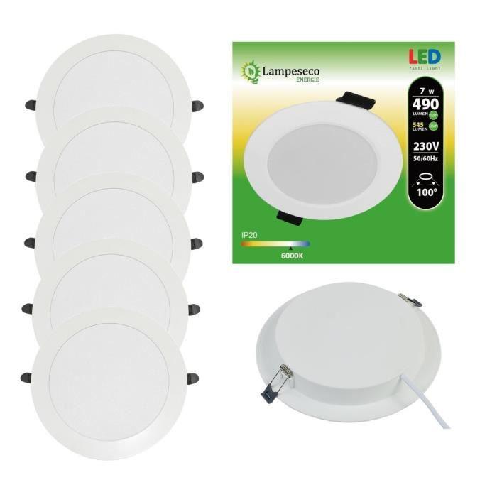 Lot de 5 Spot Encastrable LED Downlight Panel Extra-Plat 7W Blanc Froid 6000K