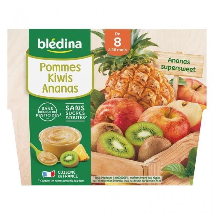 Blédina Pommes Kiwis Ananas (de 8 mois à 36 mois) par 4 pots de 100g (lot de 6 soit 24 pots)