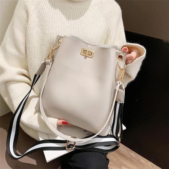Beige 25X 14.5X 27 CM -Sac à main en cuir PU pour femmes, sac seau noir de styliste, sac à bandoulière Vintage pour dames, sacoche d