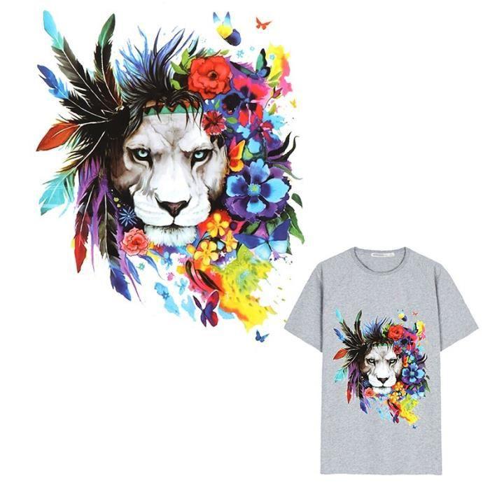 TLGV Autocollants Pour Vêtements Lavables 1 Pièce Patchs En Plumes De Lion Cool Transfert De Chaleur Sur Le Patch Impression Facil