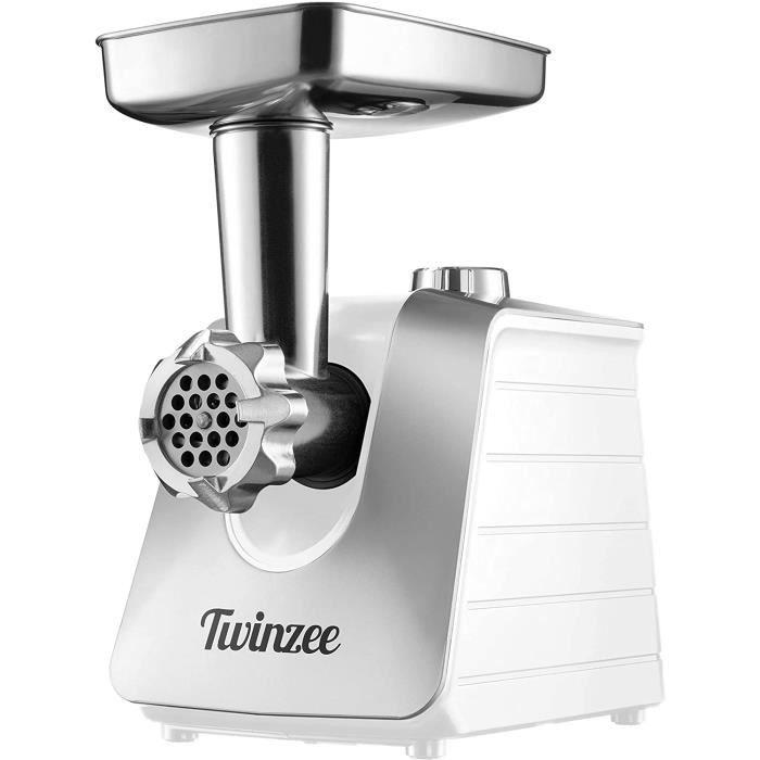 Hachoir Electrique à Viandes (Blanc) - Pour Viande et Saucisse - Robot Cuisine, Hachoir à Viande avec 3 Plaques de Coupe en Métal et