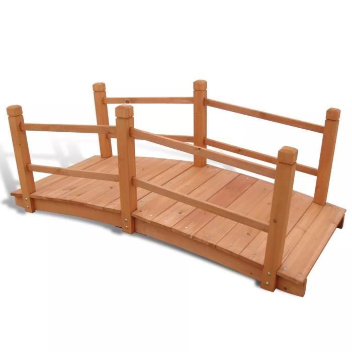 Pont de jardin avec Balustrades 140x60x56cm en Bois -PAI