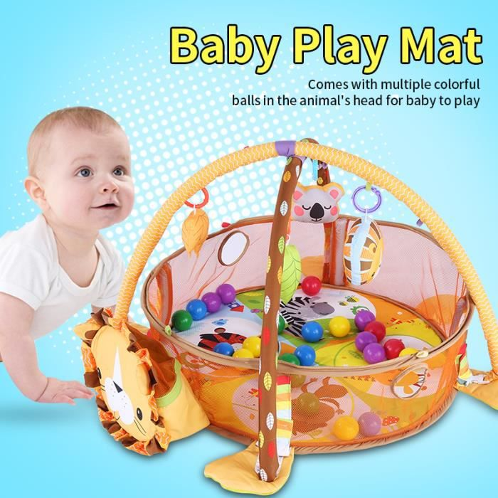 CAI® Tapis de gymnastique d'activité jeu bébé avec jouet boules colorées maille garde sécurité (Lion) HB056