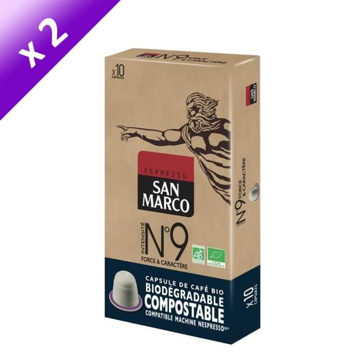 [LOT DE 2] SAN MARCO Café Moulu N° 9 Bio et Compostables - 10 capsules