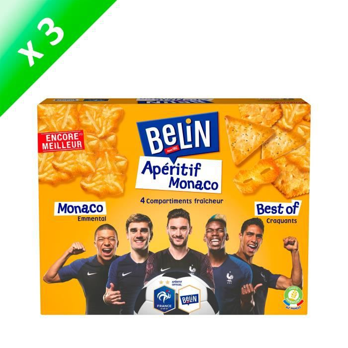 [LOT DE 3] Belin Crackers Assortiment Apéritif Monaco 340g