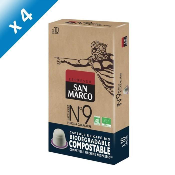 [LOT DE 4] SAN MARCO Café Moulu N° 9 Bio et Compostables - 10 capsules