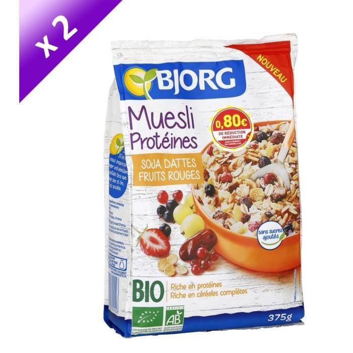 [LOT DE 2] Bjorg Muesli Protéines Soja 375g