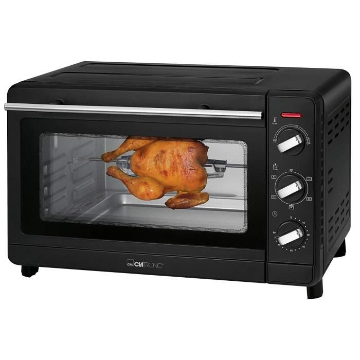 Clatronic MBG 3728 Four à cuisson multiple 30 l de salle de cuisson, chaleur tournante, minuterie 90 minutes avec signal final Noir