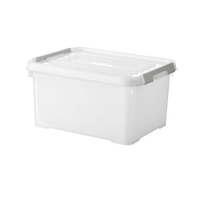CURVER - Handy box - Plus 15L + clips gris avec couvercle 100% recyclée