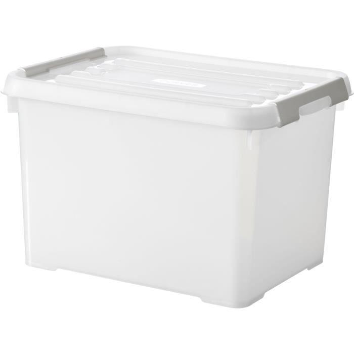 CURVER - Handy box - Plus 20L + clips gris avec couvercle 100% recyclée