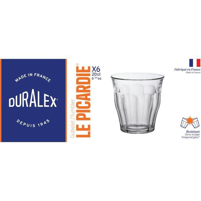 DURALEX Lot de 6 verres gobelets PICARDIE - 22 cl