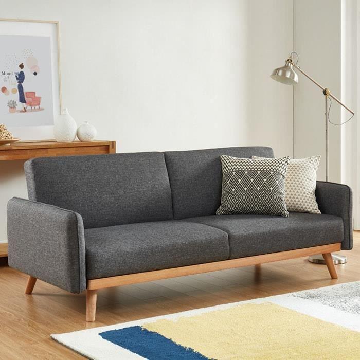 Canapé scandinave 3 places convertible en tissu gris anthracite avec couchage 113x190cm - Collection Theo Gris