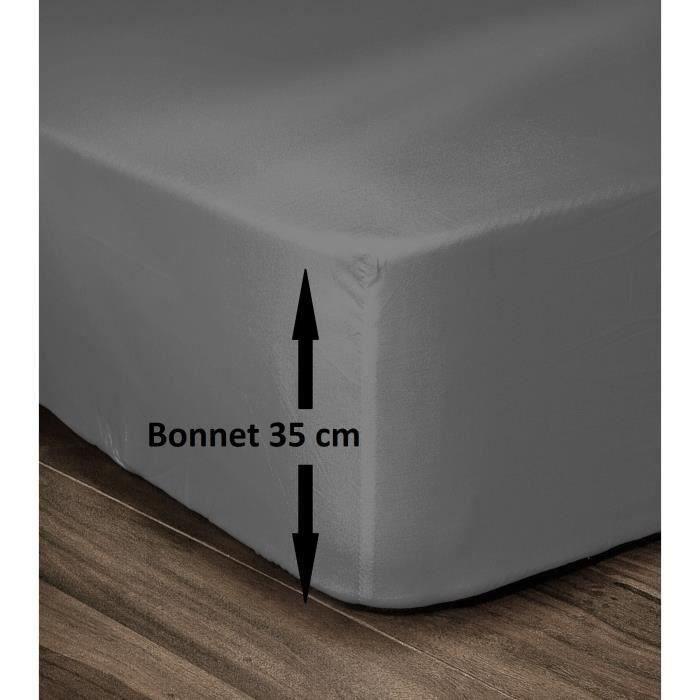 LOVELY HOME Drap Housse 100% Coton 180x200cm - Bonnet 35cm - Gris foncé