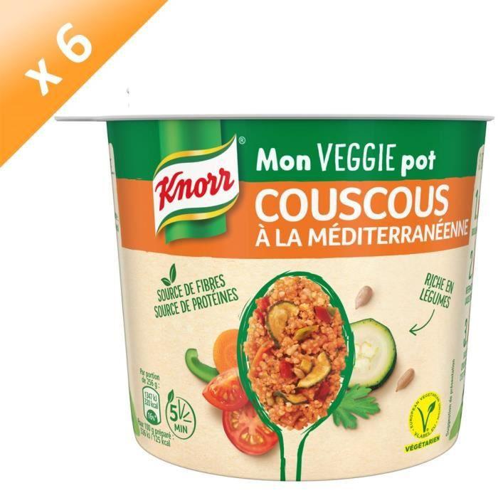 KNORR Mon Veggie Pot Plat Préparé Déshydraté Couscous à la Méditerranéenne Végétarien - Lot de 6x 73 g