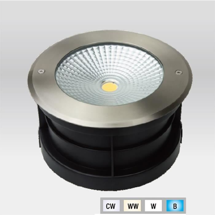 Spot LED Extérieur à enterrer ou encastrer 24W (éclairage 200W) étanche IP67 (Blanc Chaud (3000K))