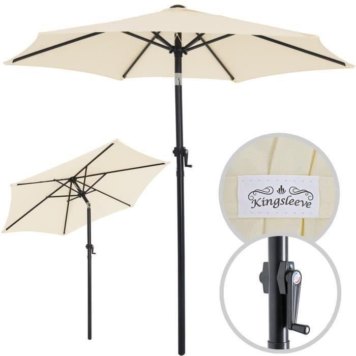 Deuba - Parasol en aluminium Ø200 cm • couleur crème • Inclinable • Protection UV 40+ • Hydrofuge - parasol jardin terrasse