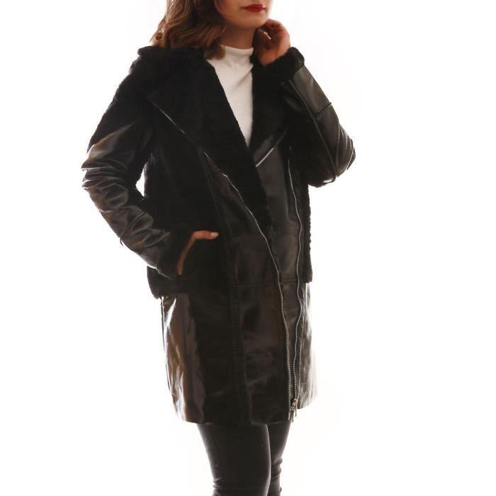 Manteau noir bi-matière