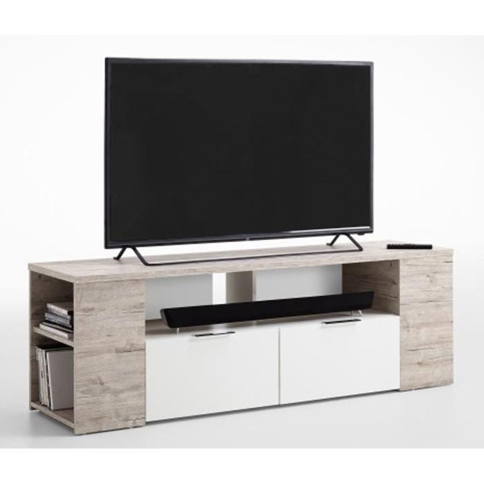 Meuble TV, en bois mélaminé coloris chêne sable-blanc - Dim : L 150 x H 50 x P 40 cm