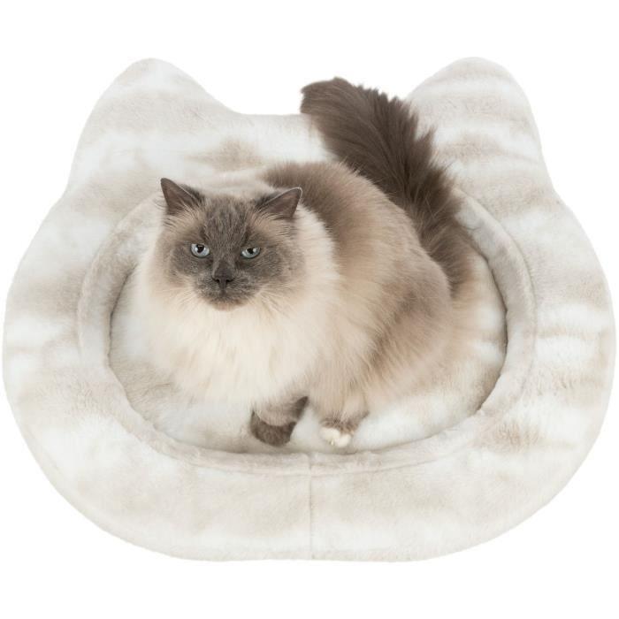 TRIXIE Lit Nelli contour de chat - 70 x 60 cm - Blanc et taupe - Pour chien