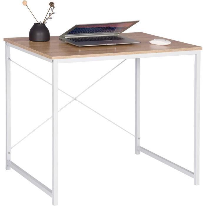 WOLTU Bureau d'ordinateur, Table de bureau en bois et acier, Table de travail, 80x60x70 cm, Blanc + chêne clair