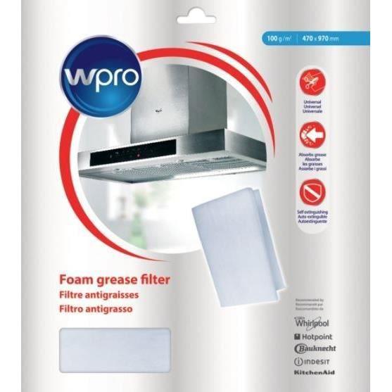 WPRO UGF018 - Filtre de hotte à graisse universel : dim 470 x 970 mm 100 g/m2