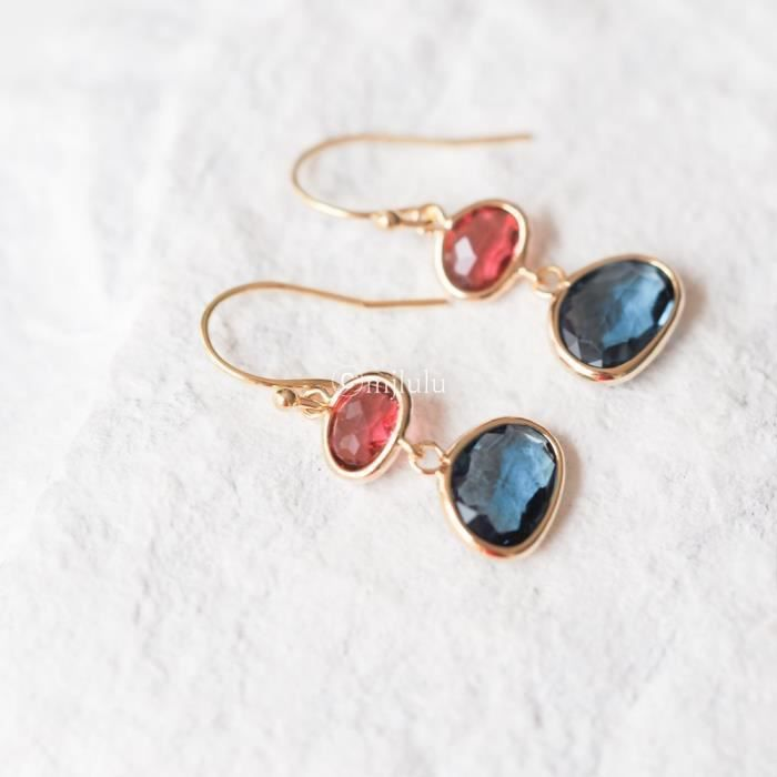 Womens Crystal Glass Simulated Red Ruby Simulated Blue Sapphire Drop Earrings G9CCA