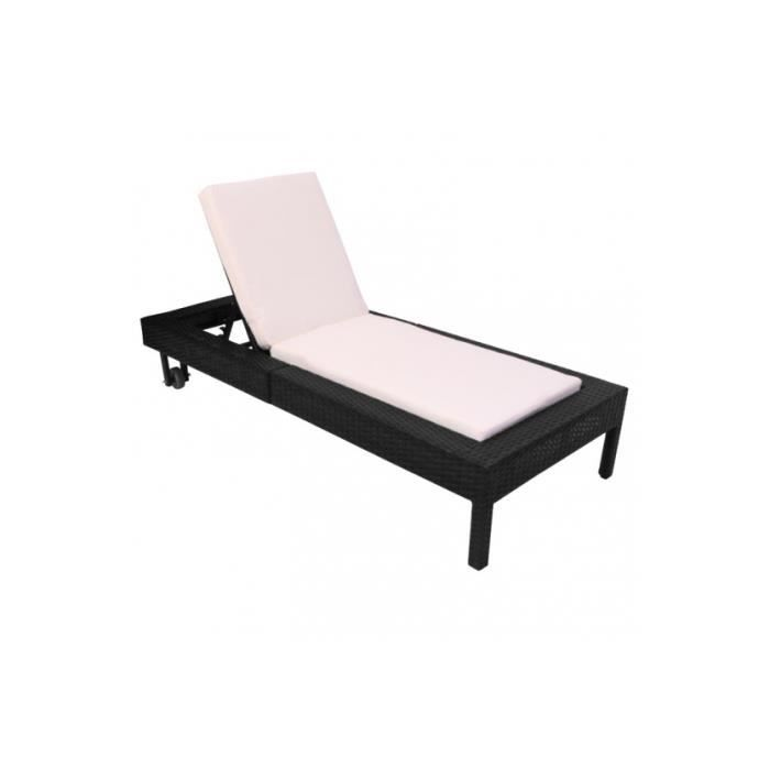 Chaise longue jardin poly rotin anthracite achat for Chaise longue jardin prix