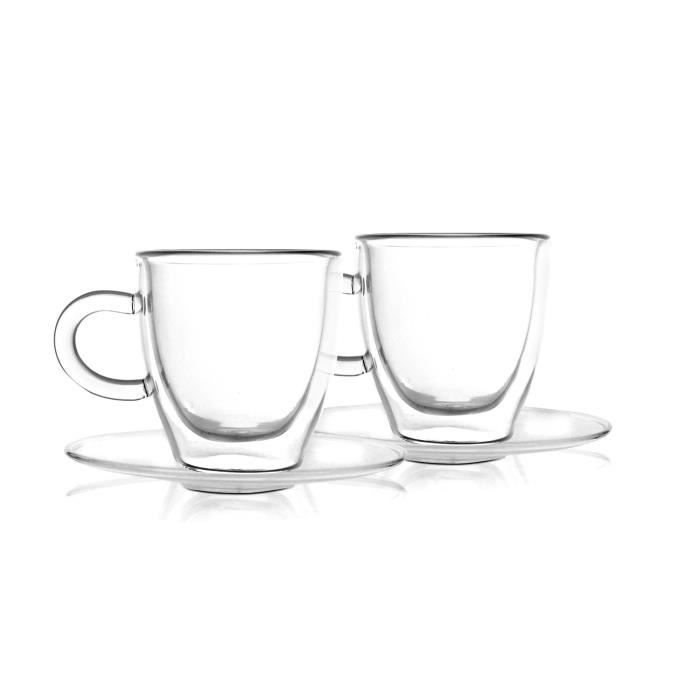 lot de 2 tasse expresso avec soucoupe en verre double paroi 50 ml achat vente service. Black Bedroom Furniture Sets. Home Design Ideas