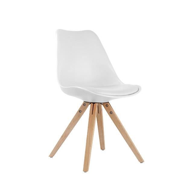 Chaise style scandinave pi tement bois riku blanc achat vente chaise bla - Chaises style scandinave ...