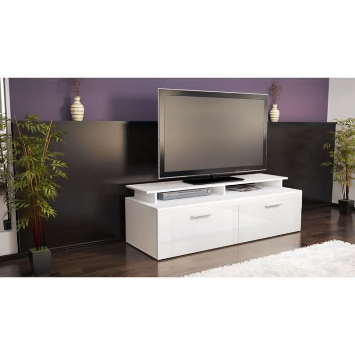 meuble tv bas blanc laqu 140 cm achat vente meuble tv. Black Bedroom Furniture Sets. Home Design Ideas