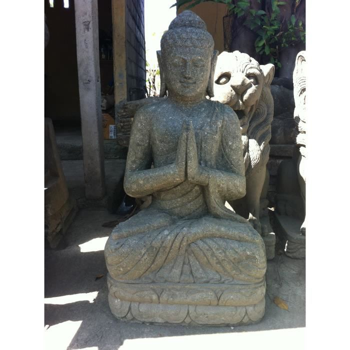 statue bouddha zen en pierre volcanique positio achat vente statue statuette statue. Black Bedroom Furniture Sets. Home Design Ideas