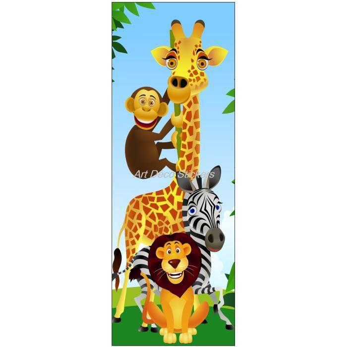 Sticker de porte enfant animaux de la jungle dimensions 73x204cm achat vente stickers for Chambre jungle cdiscount
