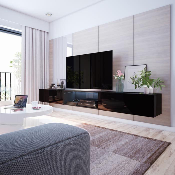 Meuble TV suspendu / Meuble de salon - LARKA - 3x100 cm - noir mat / noir  brillant - avec LED - style moderne