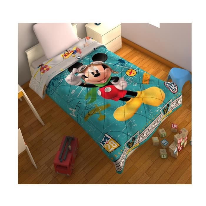 couverture de lit mickey disney matelass e 100 achat vente couverture plaid les. Black Bedroom Furniture Sets. Home Design Ideas