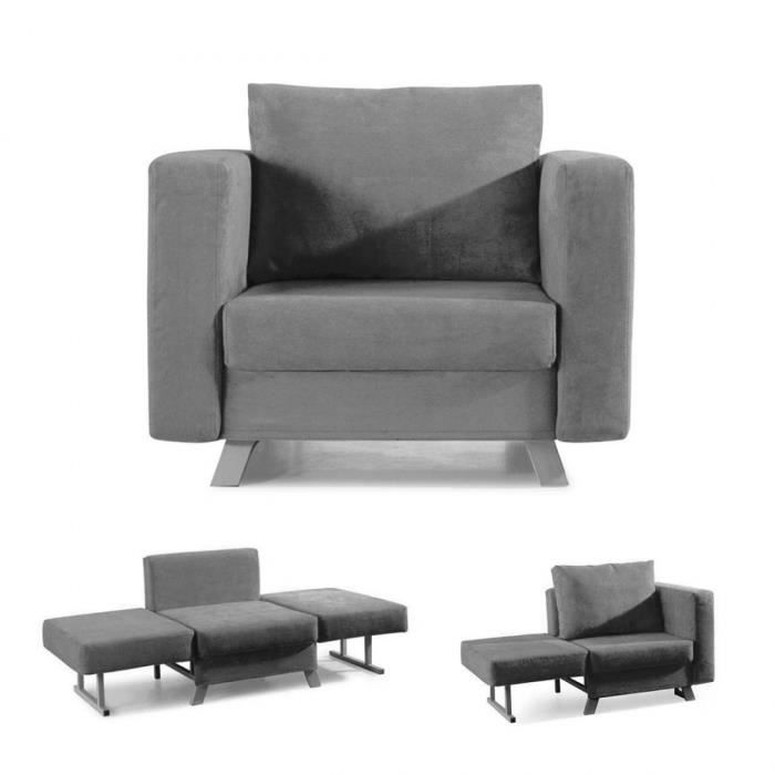 convertible 1 place solo gris fauteuil convert achat. Black Bedroom Furniture Sets. Home Design Ideas