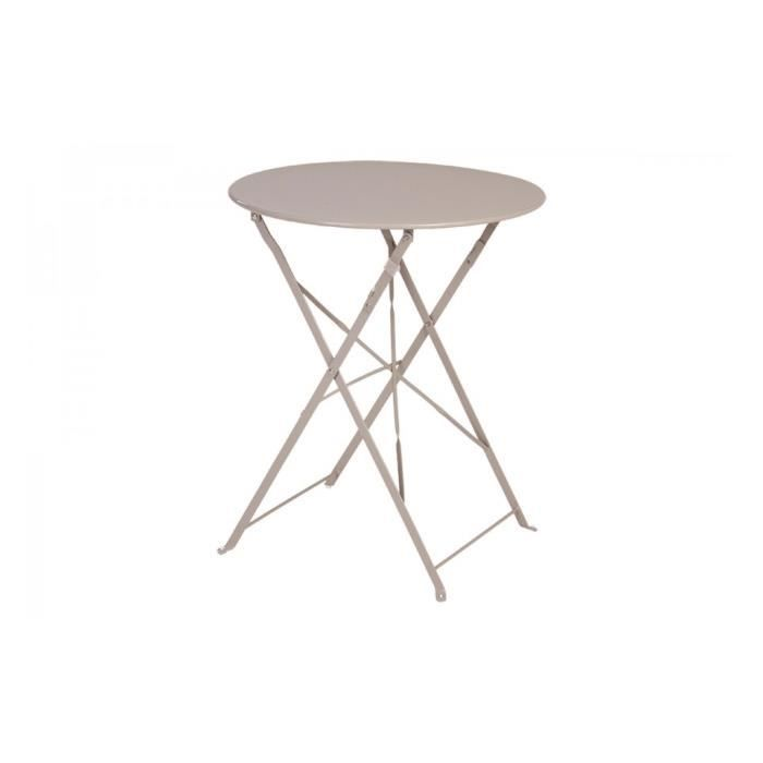Table ronde pliante camargue hesperide taupe achat for Table exterieur hesperide