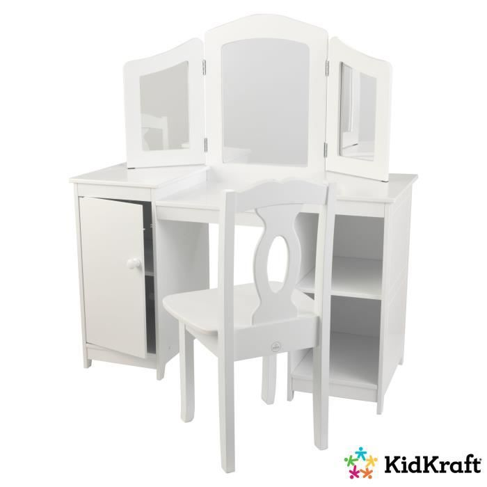 coiffeuse et chaise deluxe kidkraft achat vente coiffeur esth tique cdiscount. Black Bedroom Furniture Sets. Home Design Ideas