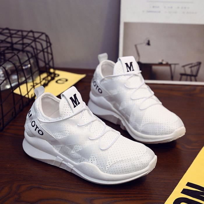 Femme Baskets Chaussures Jogging Course Gym Fitness Sport Lacet Sneakers air Running Multicolore