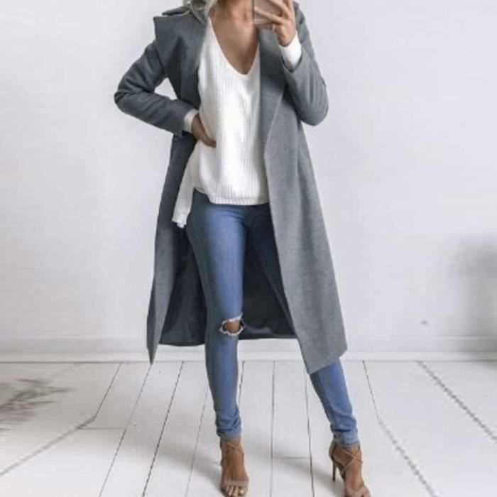 Manteau Veste Femme Laine Long Gris 1pc Taillel La De Mince JKFTl31c